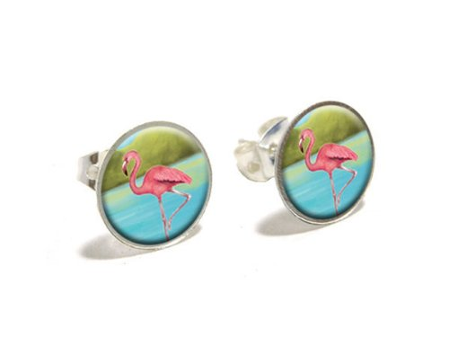 flamingo-neuheit-versilberte-ohrstecker