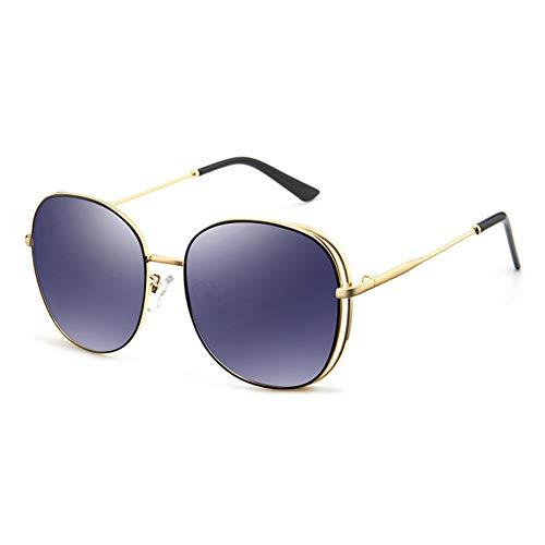 ZRTYJ Sonnenbrillen Kupfer Oval Metall Sonnenbrille Frauen Polarisierte Spiegel Rot Hochwertige Brillen Damen Trendy Sonnenbrille Klar
