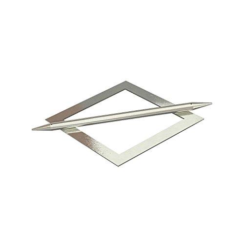 Flairdeco Raffspange mit Splint Modell Raute, Metall, Edelstahl-Optik