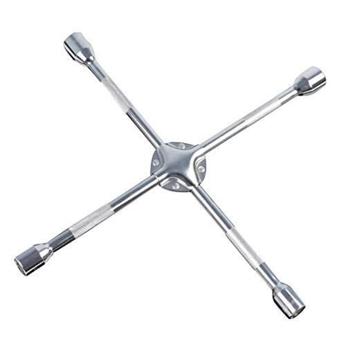 FLAMEER Clé à Molette à 4 Voies de Roue de Voiture Clé à Pneu à Écrou à Douille de 23 mm/24mm - 17-19-22-24