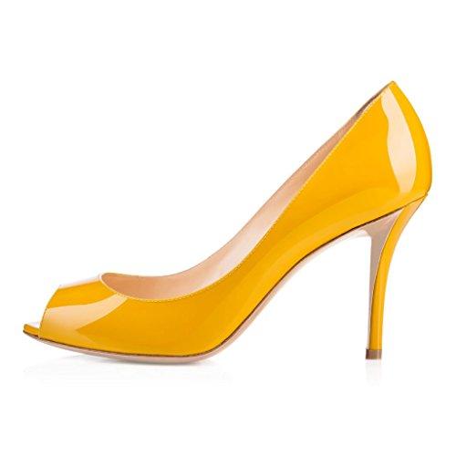EDEFS Femmes Artisan Fashion Sandales Classiques Elégants Bout Ouvertss Bureau Habillé Chaussures à Talon de 85mm Jaune
