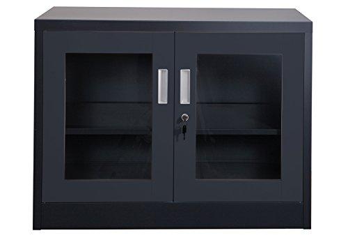 Aktenschrank Ufa dunkelgrau klein Metallschrank Büroschrank mit Glastüren in anthrazit Werkzeugschrank Metallmöbel Lagerausstattung von Jet-Line