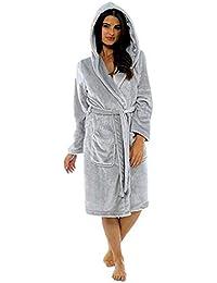 SHOBDW Albornoz Mujeres Cálidas con Capucha Albornoz De Felpa Fleece De Lujo Largo Mantón Loungewear Manga Larga Ropa De Dormir…