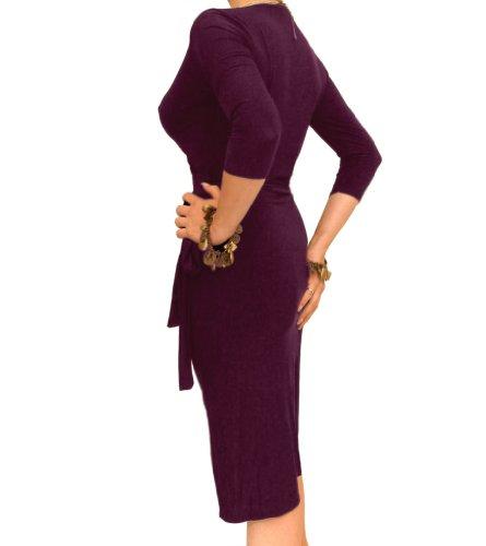 Blue Banana - Robe portefeuille moulante et élégante Violet