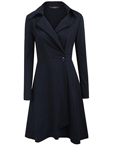 ACEVOG Damen Herbst Vintage Kleid V-Ausschnitt Abendkleid 50er Retro Cocktailkleid Hemdkleid Trenchcoat Mantel Langärmlig Revers Jacke Outwear