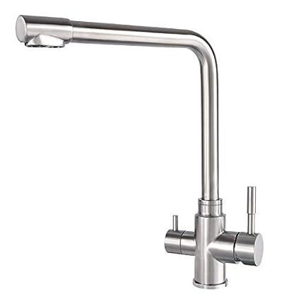Grifo de cocina con filtro de 3 vías, acero inoxidable, agua filtrada potable, caliente y fría
