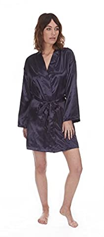 Set Pack Ladies Satin Kimono Robe / Dressing Gown with Kacey Paris® socks (Large, Navy)