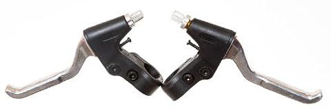 POWER PAIR of ALLOY VBRAKE BIKE LEVERS - Barrel & Lever Adjuster Black/Silver