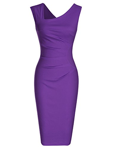 Damen Kostüme 1940's (MUXXN Damen Bleistiftkleid V-Ausschnitt Etuikleid Ärmellos Knielang Retro Abendkleid Business Kleid(M,)