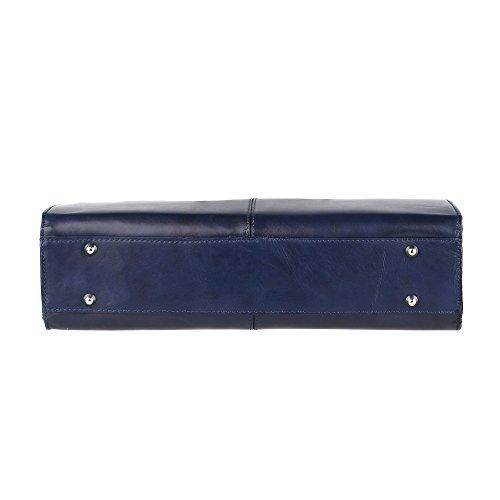 Borsa a Mano Portadocumenti da Donna con Tracolla in Vera Pelle Made in Italy Chicca Borse 39x30x11 Cm Blu