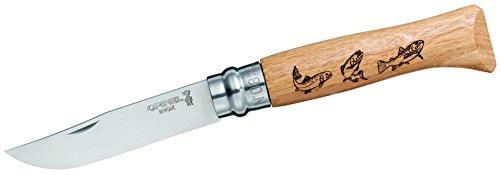 Opinel Messer - Größe 8 - Animalia - Motiv Fisch - Sandvikstahl 12C27 - rostfrei - Eichenholz Griff