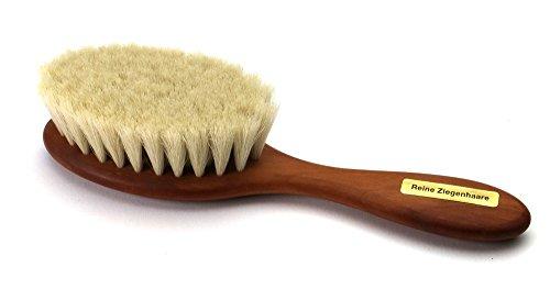 Bébé - Brosse à cheveux naturelle avec poil de chèvre 100% naturel extra doux, avec manche en bois de poirier huilé, taille 160 x 41 mm. Fabriqué en Allemagne