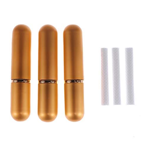 Lurrose 3 stücke ätherische öle diffusor rohr wiederverwendbare aromatherapie inhalator rohre set tragbare aluminium probe rohr mit baumwolle dochte (gold) -