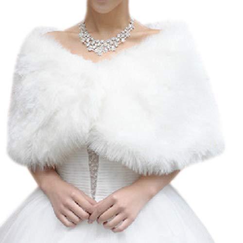 Demarkt Damen Brautzusatz Kunstpelz Winter Cape Umhang Braut Hochzeit Schal