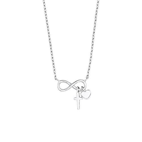 s.Oliver Kinder-Kette Teenager Mädchen 38+2 cm verstellbar mit Anhänger Infinity 925 Silber rhodiniert