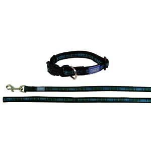 Dog-Co-Tartan-Blue-Dog-Collar-and-Lead-12-x-10-14-12-x-25-35cm-48120cm
