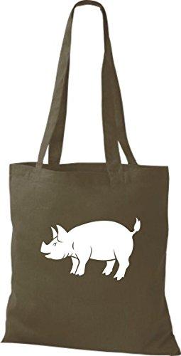 Shirtstown Stoffbeutel Tiere Schwein, Eber, Sau, Ferkel Olive