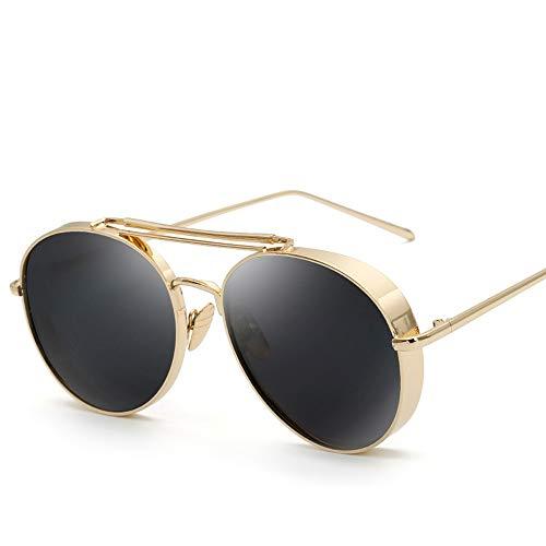 Personalisierte farbfilm Unisex Mode Metall Sonnenbrille Retro polarisierte Sonnenbrille Brille (Color : Schwarz, Size : Kostenlos)