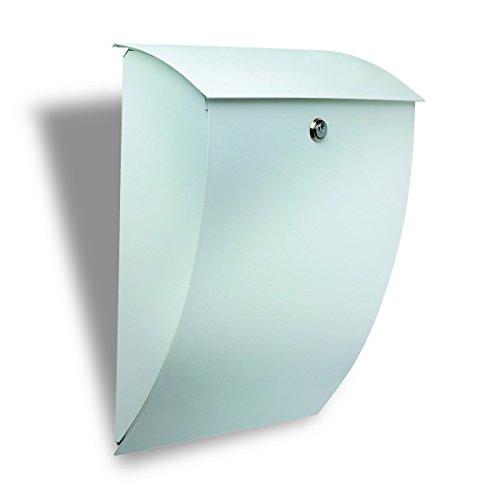 BURG-WÄCHTER, Stahlbriefkasten, A4 Einwurf-Format, Vollflächig verzinkt, Stahl, Milano 843 W, Weiß
