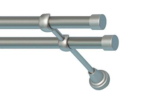 Sento 2-läufig Gardinenstange Vorhangstange Satz 25/19mm aus Metall, Satin Matt Zoya 320 cm