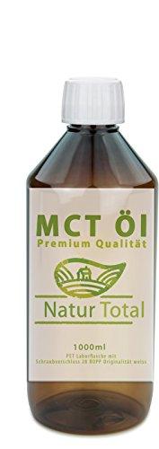 MCT Öl 1000ml raffiniert - Premium Qualität mit hohem Anteil Caprylsäure und Caprinsäure - 60,5% Caprylic und 39,2% Capric Acid zusammen 99,7% - Deutsche Analyse