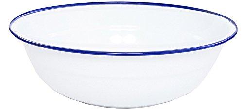 Vintage White Enamelware ((Blue) - Enamelware 36cm Timpano Basin, Vintage White with Blue Rim)