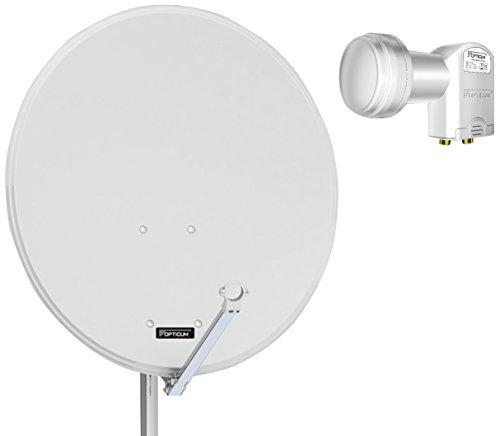 Opticum QA80 Sat Antenne Stahl mit Twin LNB LTP-04H lichtgrau