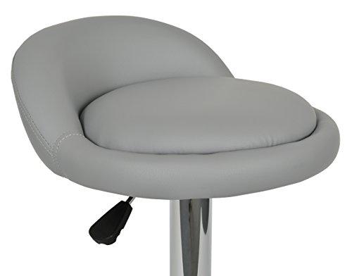 Ts ideen bar sgabello sedia sgabello in grigio con cromo e