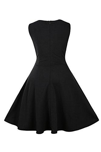 YACUN Les Femmes Sans Manches En Robe Swing Décolleté Cocktail Black