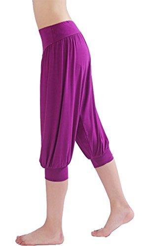 HOEREV® Frauen-Super Soft Modal Spandex Harem Yoga Pilates Capri Hose Lila