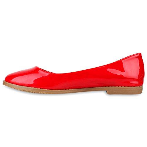 Klassische Damen Pailletten Ballerinas Schleifen Rot Lack