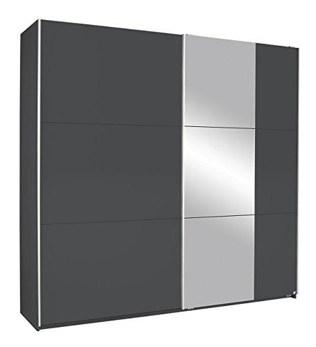 Rauch Kronach Schwebetürenschrank mit Spiegel 2-türig, Grau-Metallic Nachbildung, BxHxT 218x210x59 cm