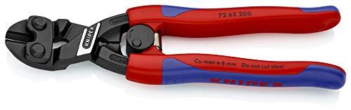 KNIPEX 72 62 200 Kraft-Bündigschneider für Weichmetall und Kunststoff schwarz atramentiert mit schlanken Mehrkomponenten-Hüllen 200 mm