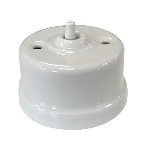 Interruptor de porcelana blanco sin lazo