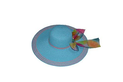 Pisco 'Femmes Plage Grand Large bord disquette Pare-Soleil Shade Chapeau de paille Cap café bleu
