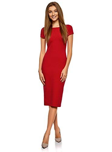 oodji Collection Mujer Vestido Midi con Escote en la Espalda, Rojo, ES 38 / S