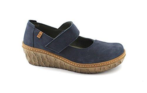 Ocean Leder Schuhe (El Naturalista N5135 Myth Yggdrasil Komfortabler Damen Mary Jane Halbschuh aus Leder, Keilabsatz Ballerina, Halbschuh mit Klettverschluss, Wedge Absatz 57mm Blau (Ocean), EU 39)