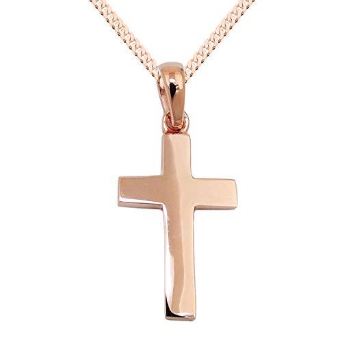 LÖB Kette 925 Silber Rosegold Vergoldet mit Kreuz-Anhänger 45cm Lang glänzend filigrane Kinder Damen Kreuzkette Halskette Rose Gold