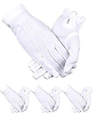 Sumind 4 Paar Erwachsenen-Uniform-Handschuhe Spandex Handschuhe Kleid Handschuhe für Polizei formelle Smoking Guard Parade Kostüm - weiß -
