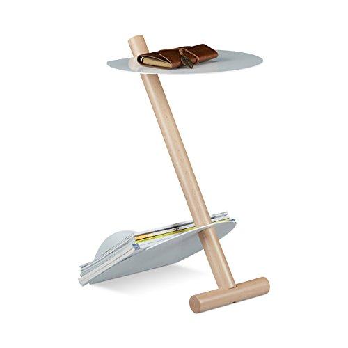 Relaxdays Table d'appoint Porte-Magazines Porte-revues Porte-journaux métal Bois Design Moderne HxlxP: 55 x 34 x 45 cm Table Basse, Blanc