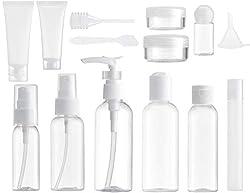 MYLL 14 Piezas Botellas de Viaje (max.100ml) | Botes de Viaje para Champú / Crema / Gel / Líquido Contenedor - Kit Aseo de Viaje para Avion | Libre de BPA & TSA Aprobado