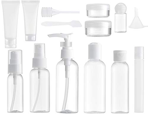 MYLL 14 Stück Leere Reiseflaschen Set (Max.100ml) Reisegrößen Behälter, Reise Flaschen für Kosmetik Flugzeug (Transparent)