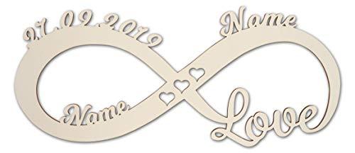 Unendlichkeitszeichen aus Holz zur Hochzeit mit Namen I Geld Hochzeitsgeschenke für Brautpaar Geschenke Wandschild Geldgeschenke Türschild Schild Verlobung