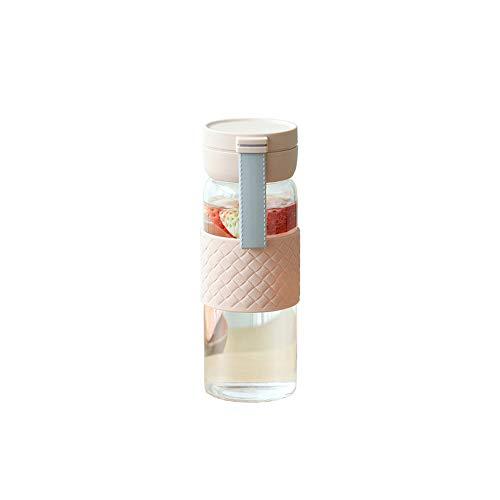 MIAO. Sportwasserflasche - Glasflasche, geeignet für Laufen, Fitness, Yoga, Outdoor und den täglichen Gebrauch - Wiederverwendbare auslaufsichere Abdeckung,Pink