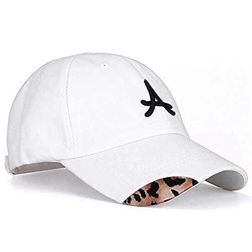 Hut Damen S Baumwolle Cap Buchstaben Bestickt Leopard Baseball Cap Damen lässig einstellbar Outdoor Street Kleidung Hut, weiß