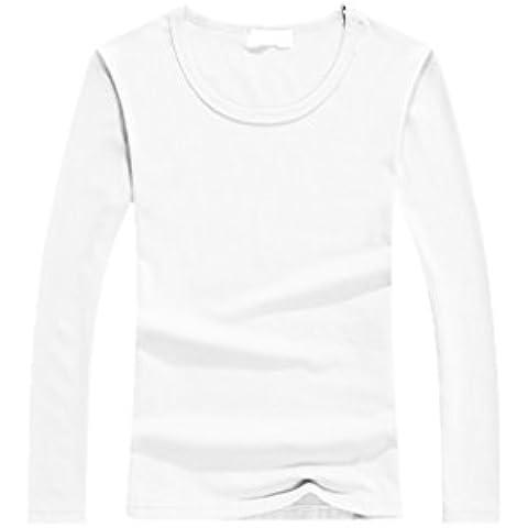 Vollter De manga larga con cuello redondo de la camiseta del algodón de las mujeres camiseta básica Tops para la