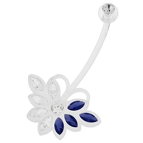 Bleu Clair Bleu foncé CZ Stone Butterfly Design 14 Jauge Clair Bio Grossesse Flexible Nombril Piercing Bijoux