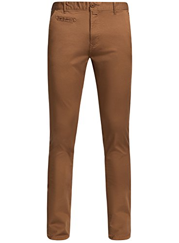 oodji Ultra Uomo Pantaloni Chino in Cotone, Beige, IT 46 / EU 42 / M