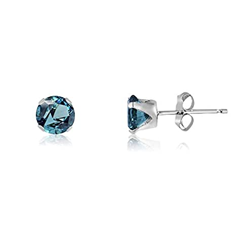 3MM Classic Brilliant Round Cut CZ Sterling Silver Stud Earrings - BLUE ZIRCON - Or Choose From 2mm to 12mm. 3-BZIR