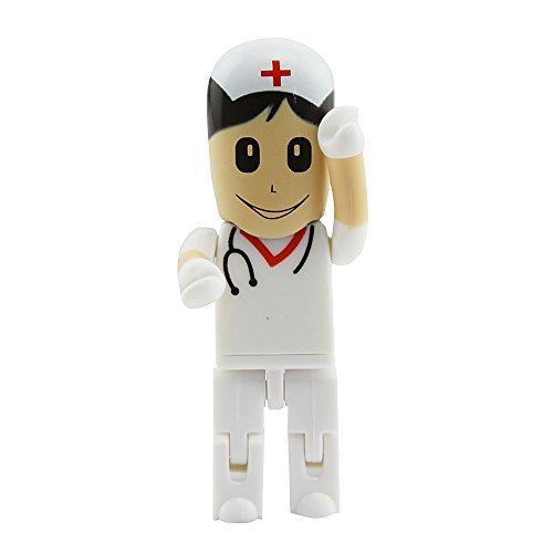 Usbkingdom USB 2.0Flash Drive Dibujos animados doctor Enfermera cirujano forma Pulgar disco Memory Stick Pendrive Flashdrive Novelty White Nurse 16 gb